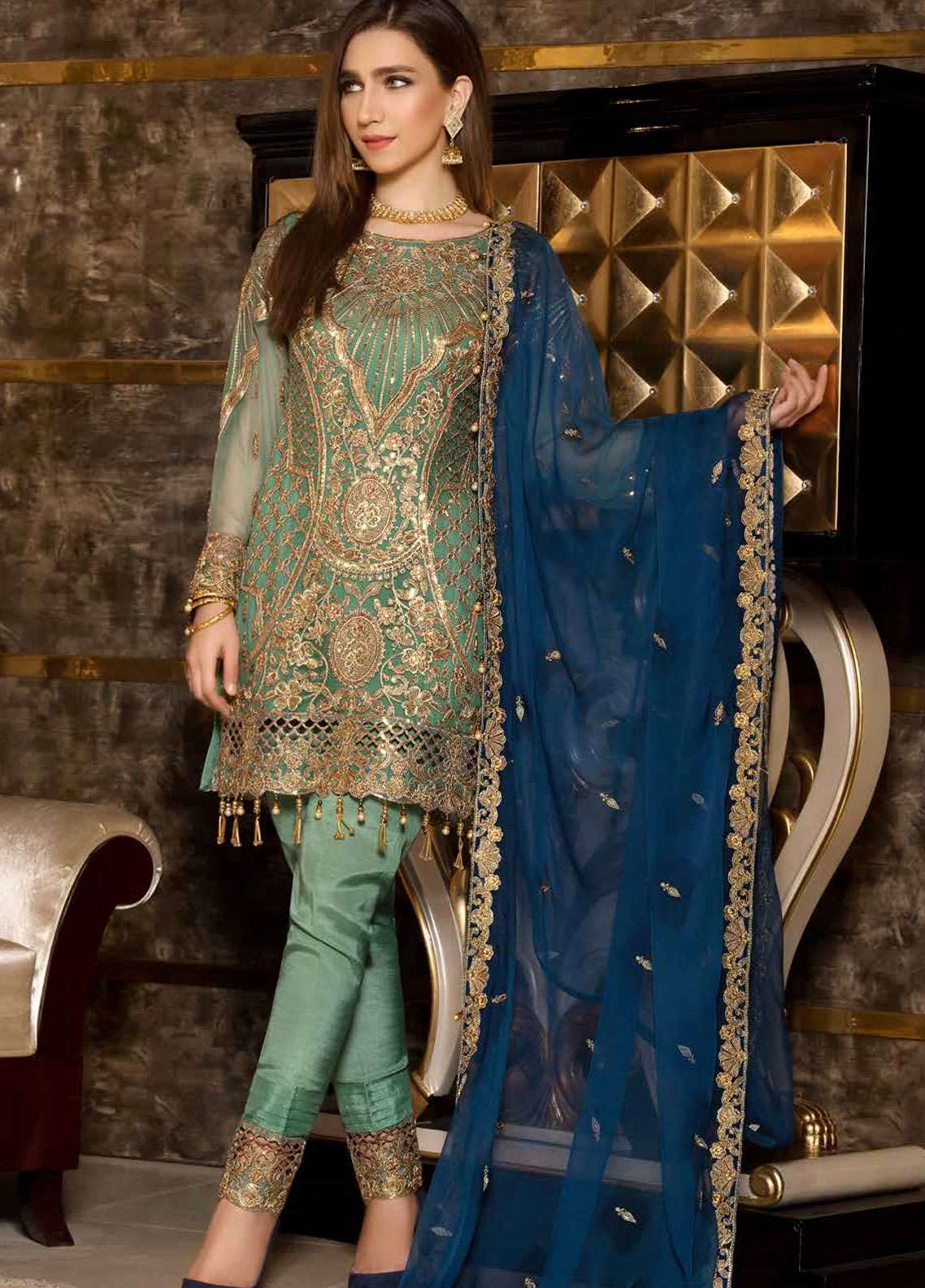 Freesia by Maryum N Maria Embroidered Chiffon Unstitched 3 Piece Suit FMM19C 601 STAR DUST - Luxury Collection