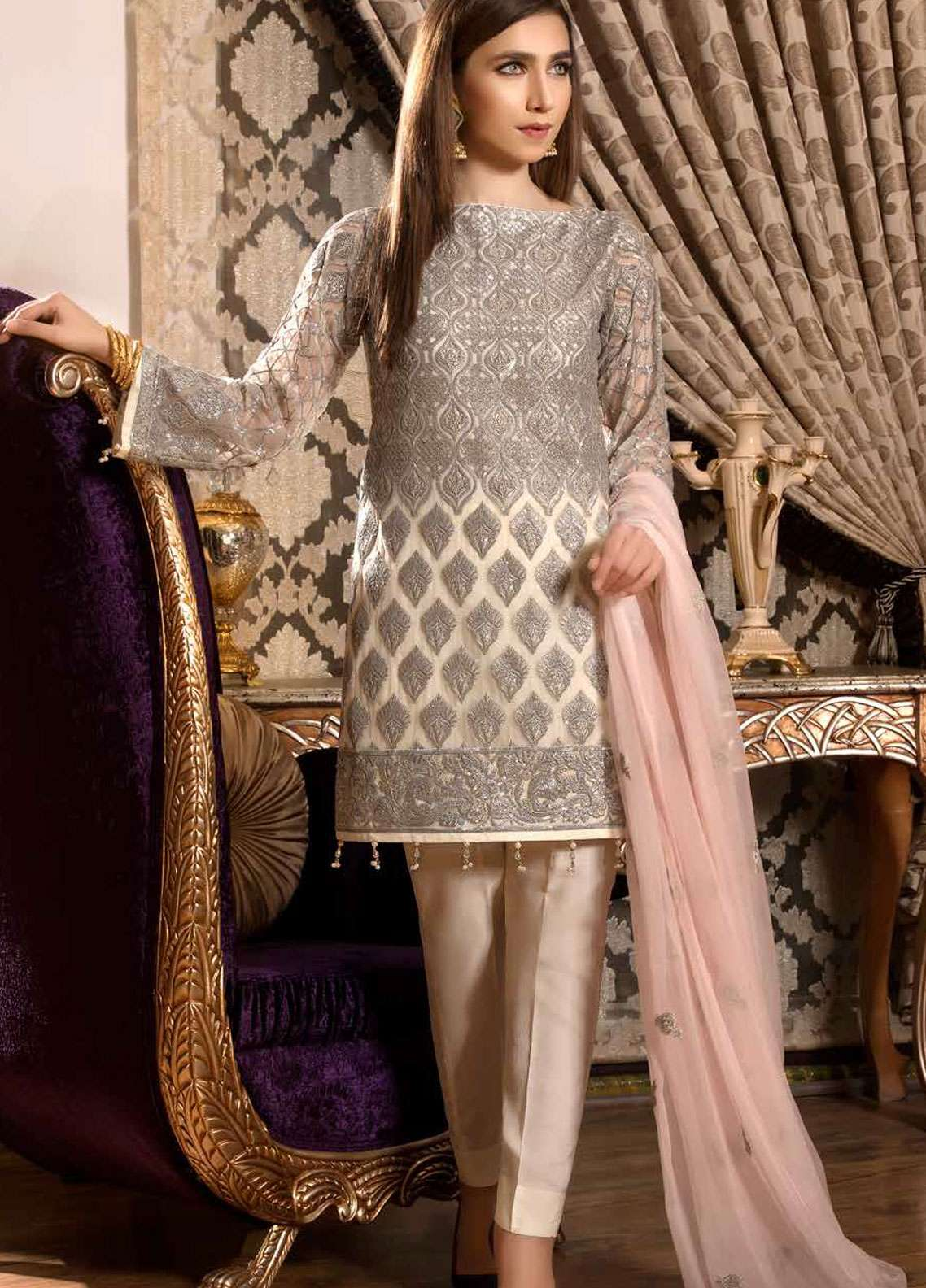 Freesia by Maryum N Maria Embroidered Chiffon Unstitched 3 Piece Suit FMM19C 602 RETRO ROSE - Luxury Collection