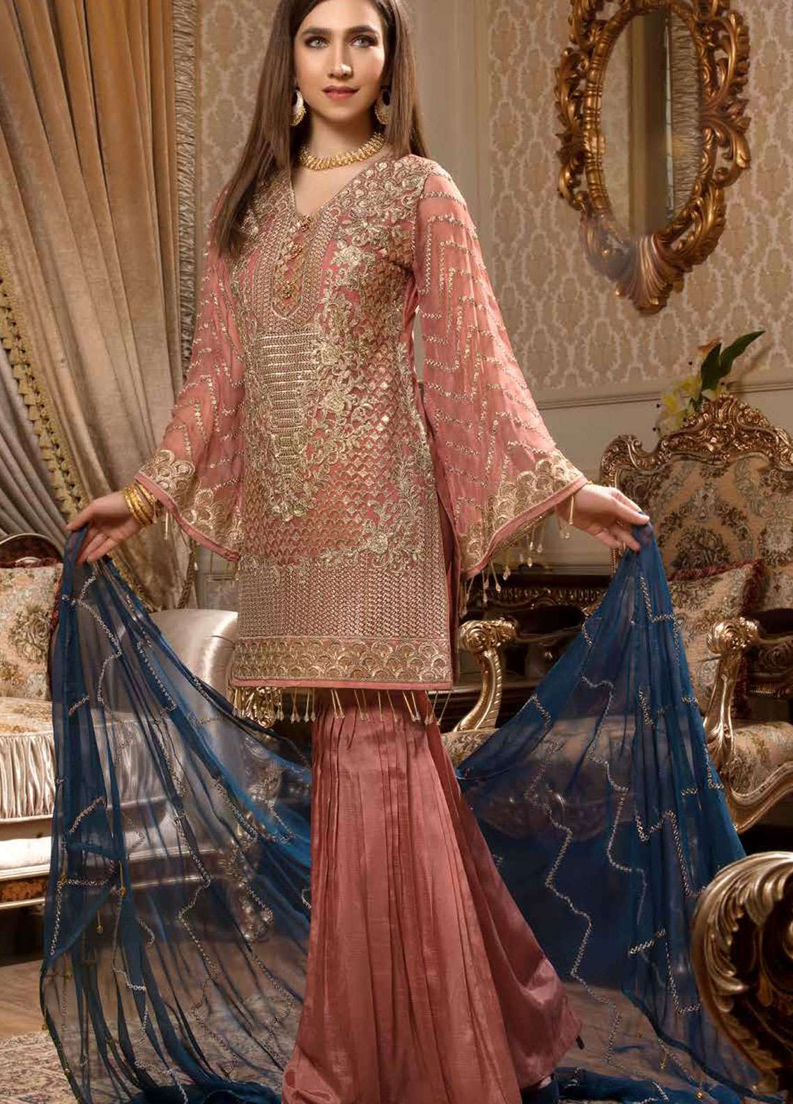 Freesia by Maryum N Maria Embroidered Chiffon Unstitched 3 Piece Suit FMM19C 605 MAJESTIC NOTES - Luxury Collection
