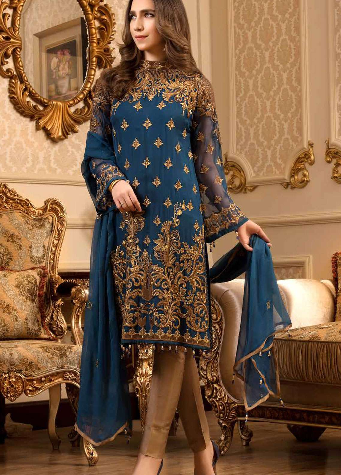 Freesia by Maryum N Maria Embroidered Chiffon Unstitched 3 Piece Suit FMM19C 606 LUMINOUS NAVY - Luxury Collection
