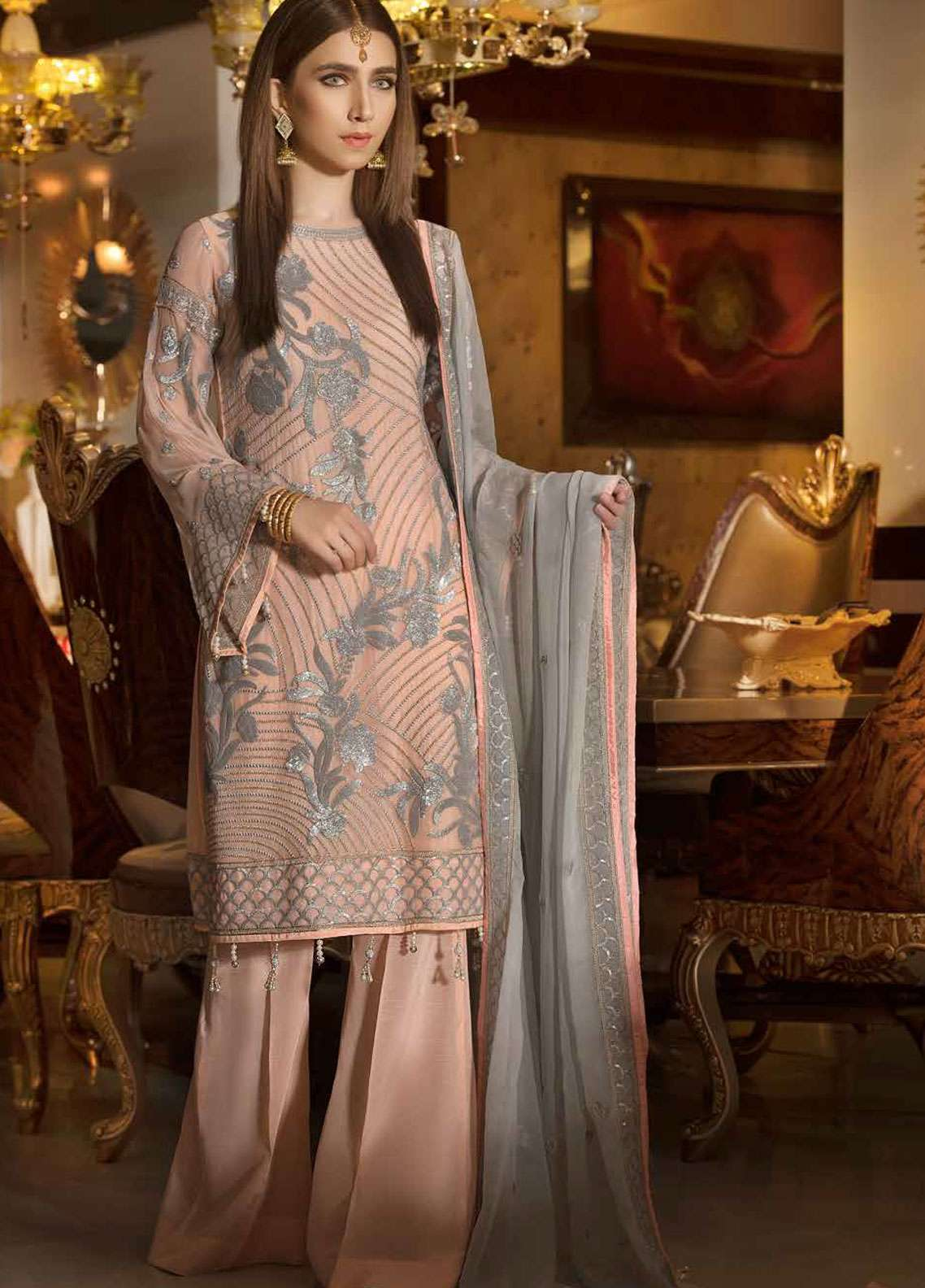 Freesia by Maryum N Maria Embroidered Chiffon Unstitched 3 Piece Suit FMM19C 607 DREAM CATCHER - Luxury Collection