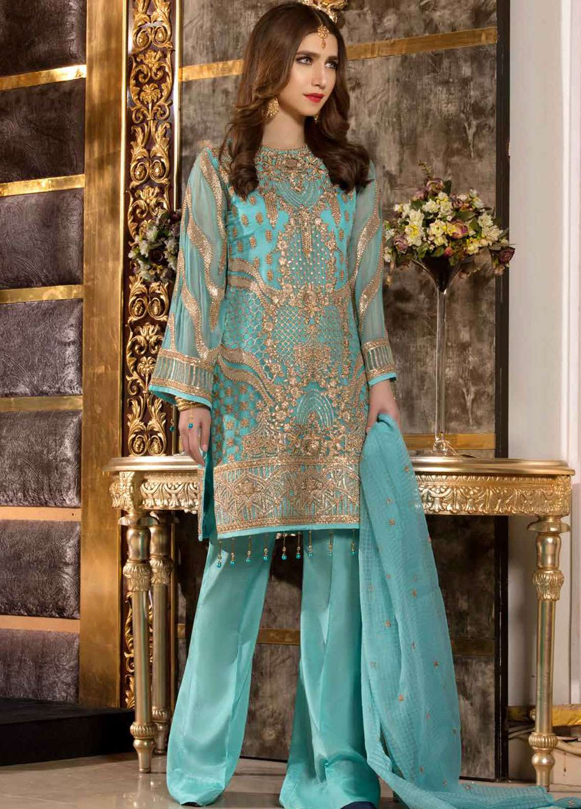 Freesia by Maryum N Maria Embroidered Chiffon Unstitched 3 Piece Suit FMM19C 609 ENCHANTING SEA - Luxury Collection