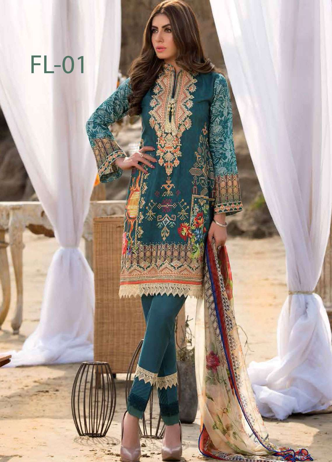 Freesia By Maryum N Maria Embroidered Lawn Unstitched 3 Piece Suit FMM19L 01 LA MULDILO - Spring / Summer Collection
