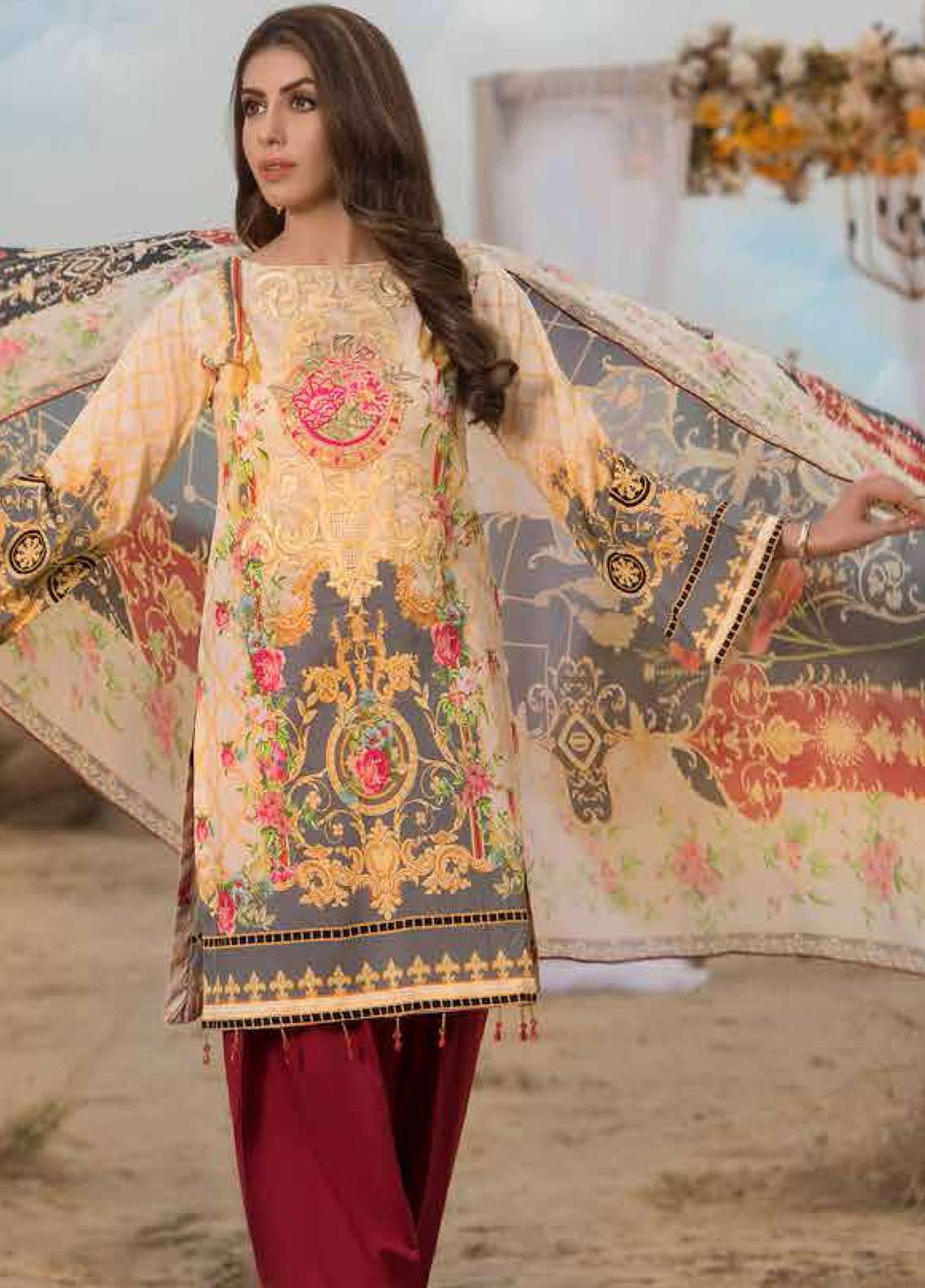 Freesia By Maryum N Maria Embroidered Lawn Unstitched 3 Piece Suit FMM19L 02 GRIZA - Spring / Summer Collection