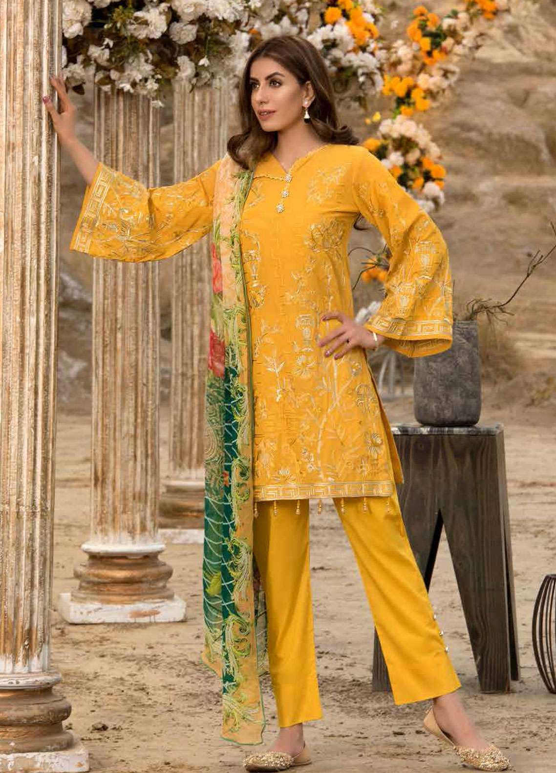 Freesia By Maryum N Maria Embroidered Lawn Unstitched 3 Piece Suit FMM19L 04 TRAD - Spring / Summer Collection