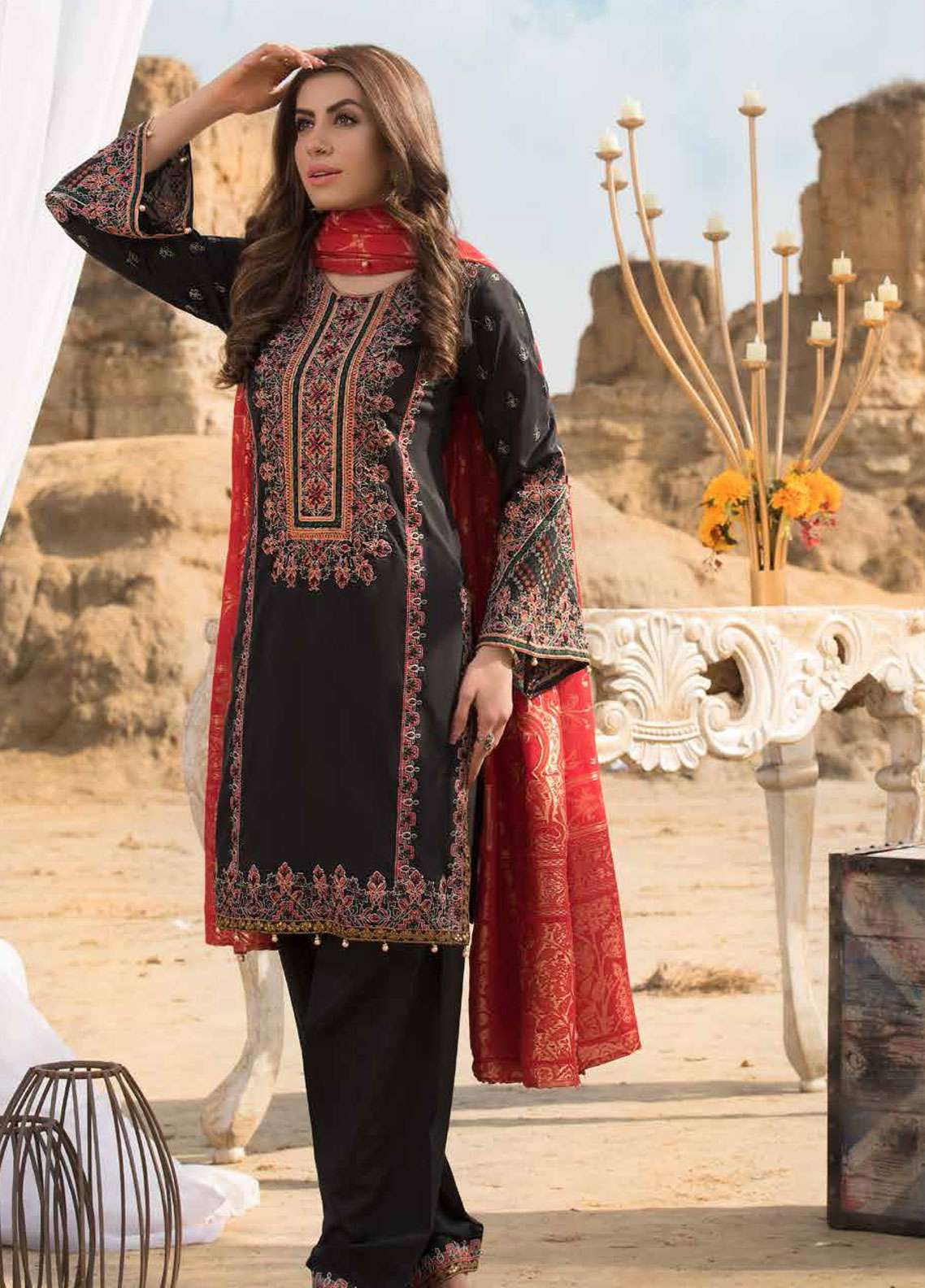 Freesia By Maryum N Maria Embroidered Lawn Unstitched 3 Piece Suit FMM19L 05 BLACK GENETIC - Spring / Summer Collection