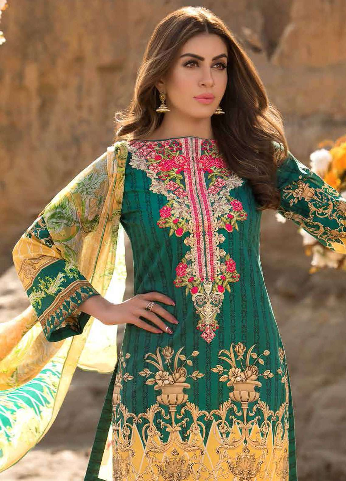 Freesia By Maryum N Maria Embroidered Lawn Unstitched 3 Piece Suit FMM19L 06 BARROCO - Spring / Summer Collection