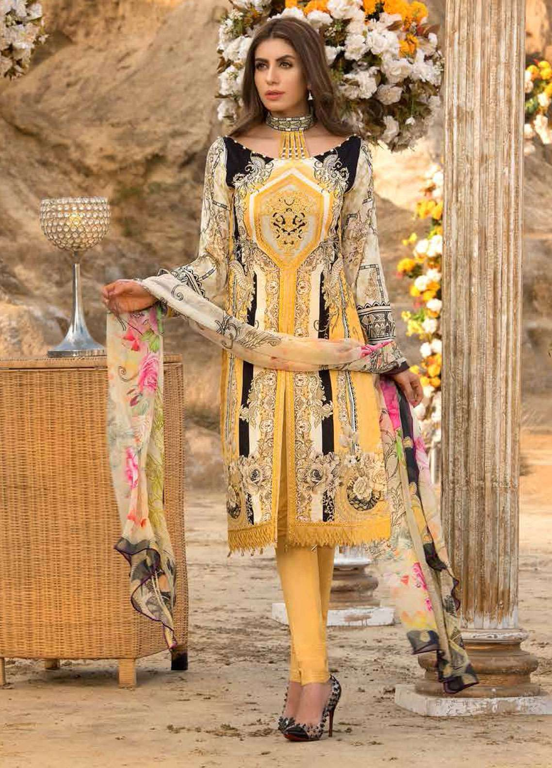 Freesia By Maryum N Maria Embroidered Lawn Unstitched 3 Piece Suit FMM19L 08 FLAVA - Spring / Summer Collection