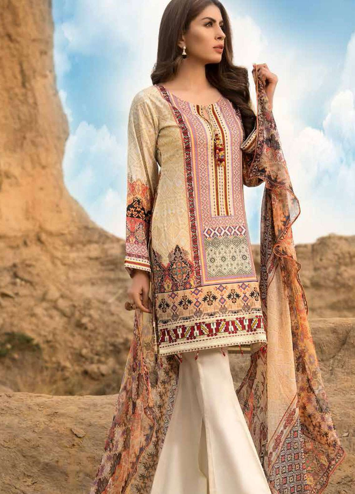Freesia By Maryum N Maria Embroidered Lawn Unstitched 3 Piece Suit FMM19L 09 STILO - Spring / Summer Collection