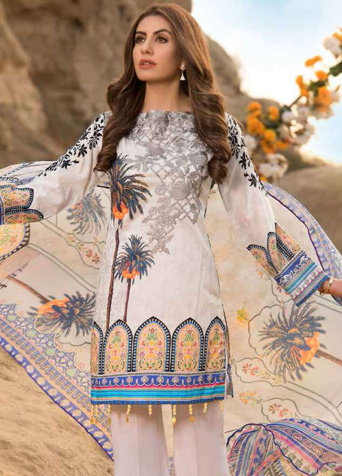 Freesia By Maryum N Maria Embroidered Lawn Unstitched 3 Piece Suit FMM19L 10 LEVENDAR - Spring / Summer Collection
