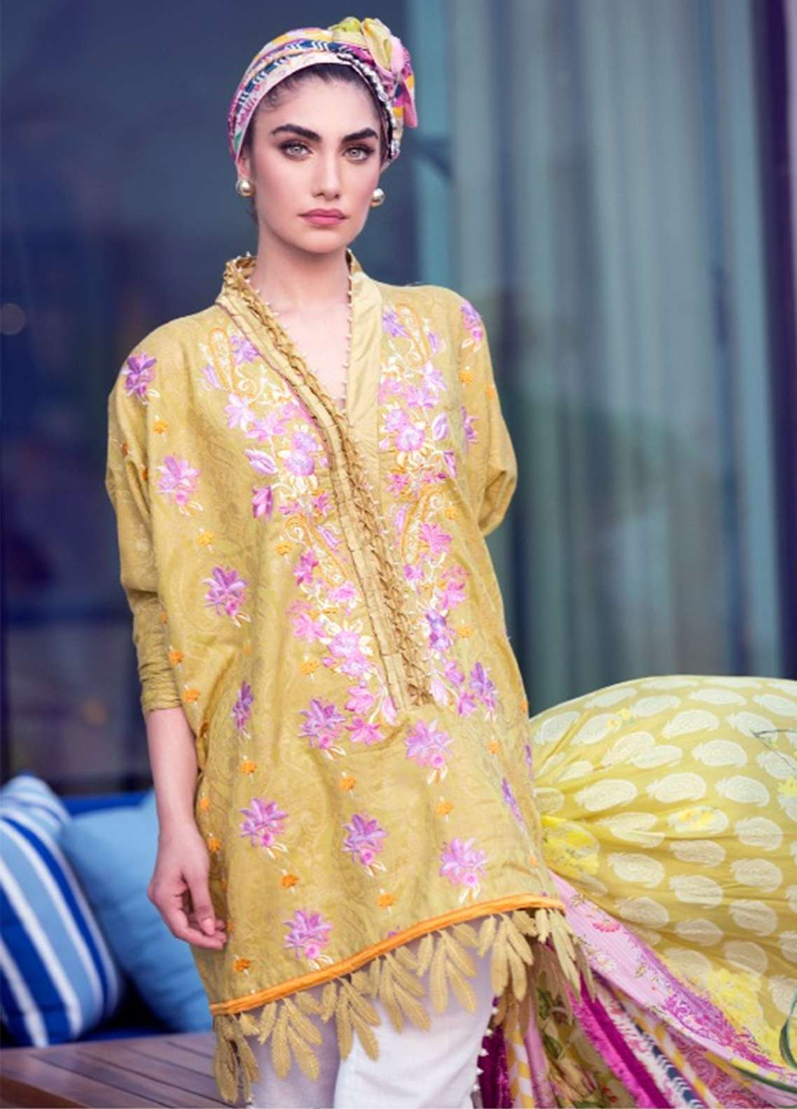 Farah Talib Embroidered Lawn Unstitched 3 Piece Suit FT18E 08 - Eid Collection