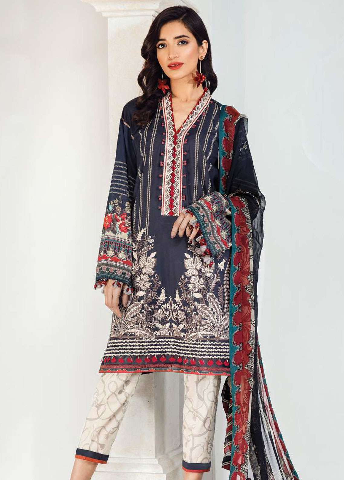 Fuchsia by Baroque Embroidered Lawn Unstitched 3 Piece Suit FC19L 08 JULIETA - Spring / Summer Collection