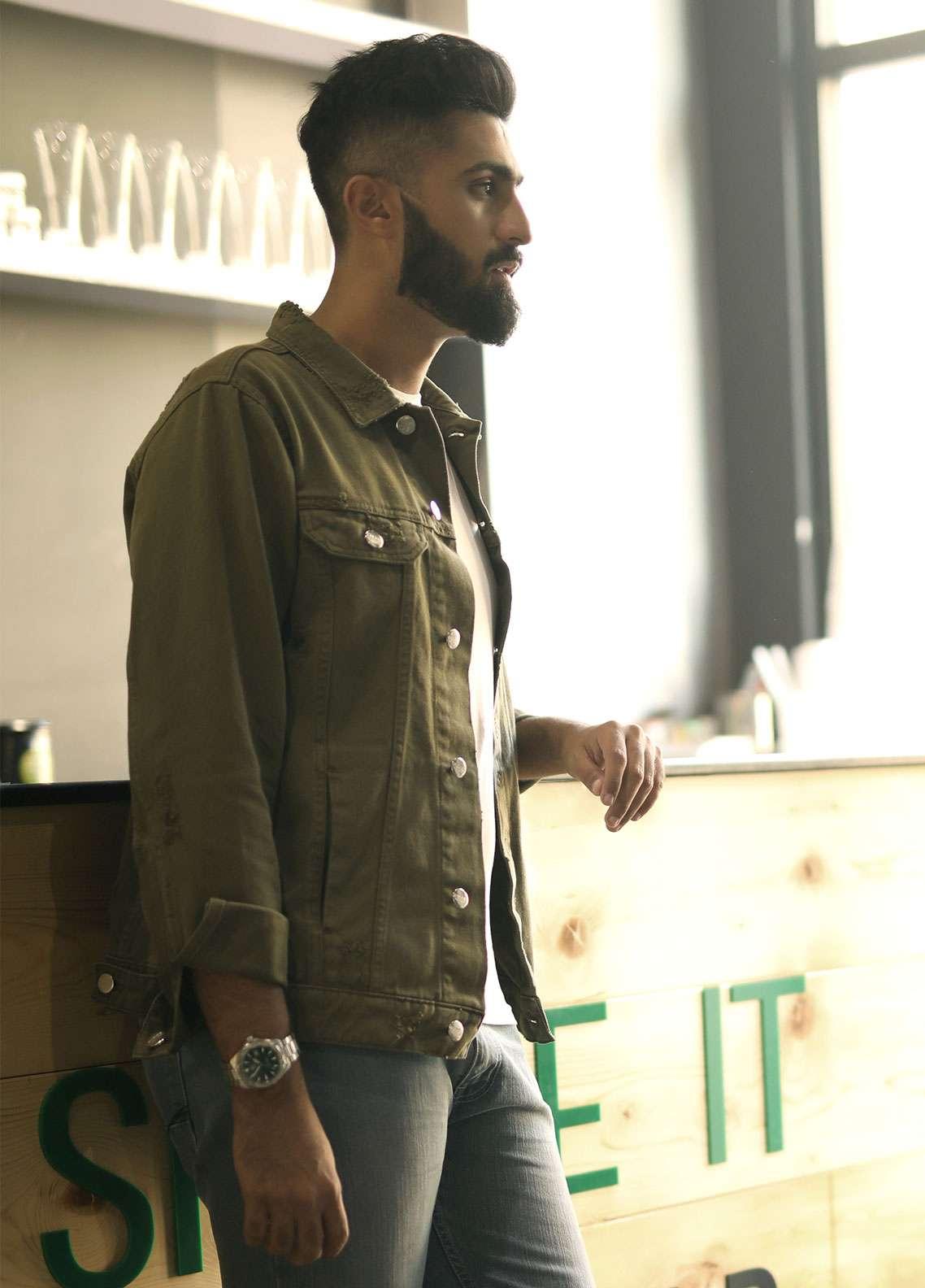 Furor Denim Casual Jackets for Men - Olive FMTJD18-008