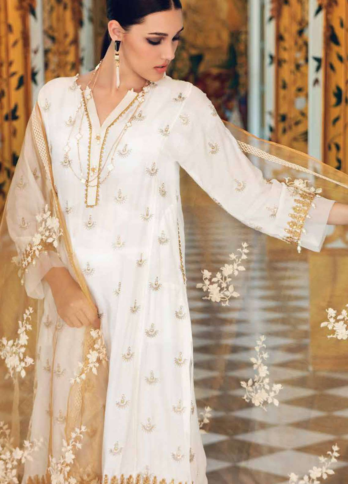 Gul Ahmed Embroidered Khaadi Net Unstitched 3 Piece Suit GA18E FE-123 - Festive Collection