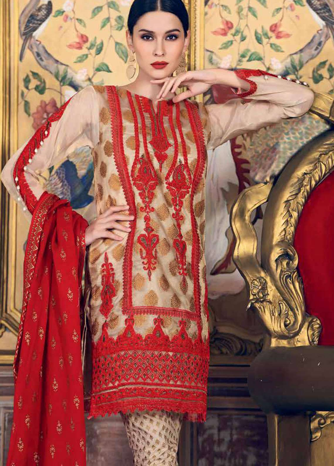 Gul Ahmed Embroidered Missouri Unstitched 3 Piece Suit GA18E FE-90 - Festive Collection