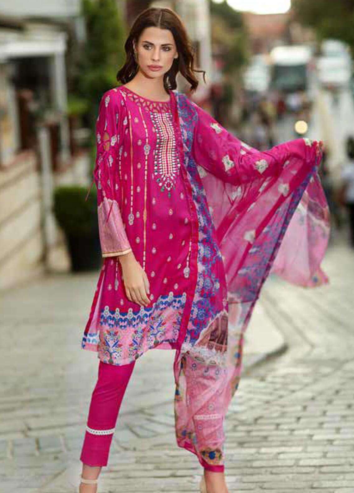 Gul Ahmed Printed Cotton Satin Unstitched 3 Piece Suit GAS18C DCS 1A - Digital Printed Collection