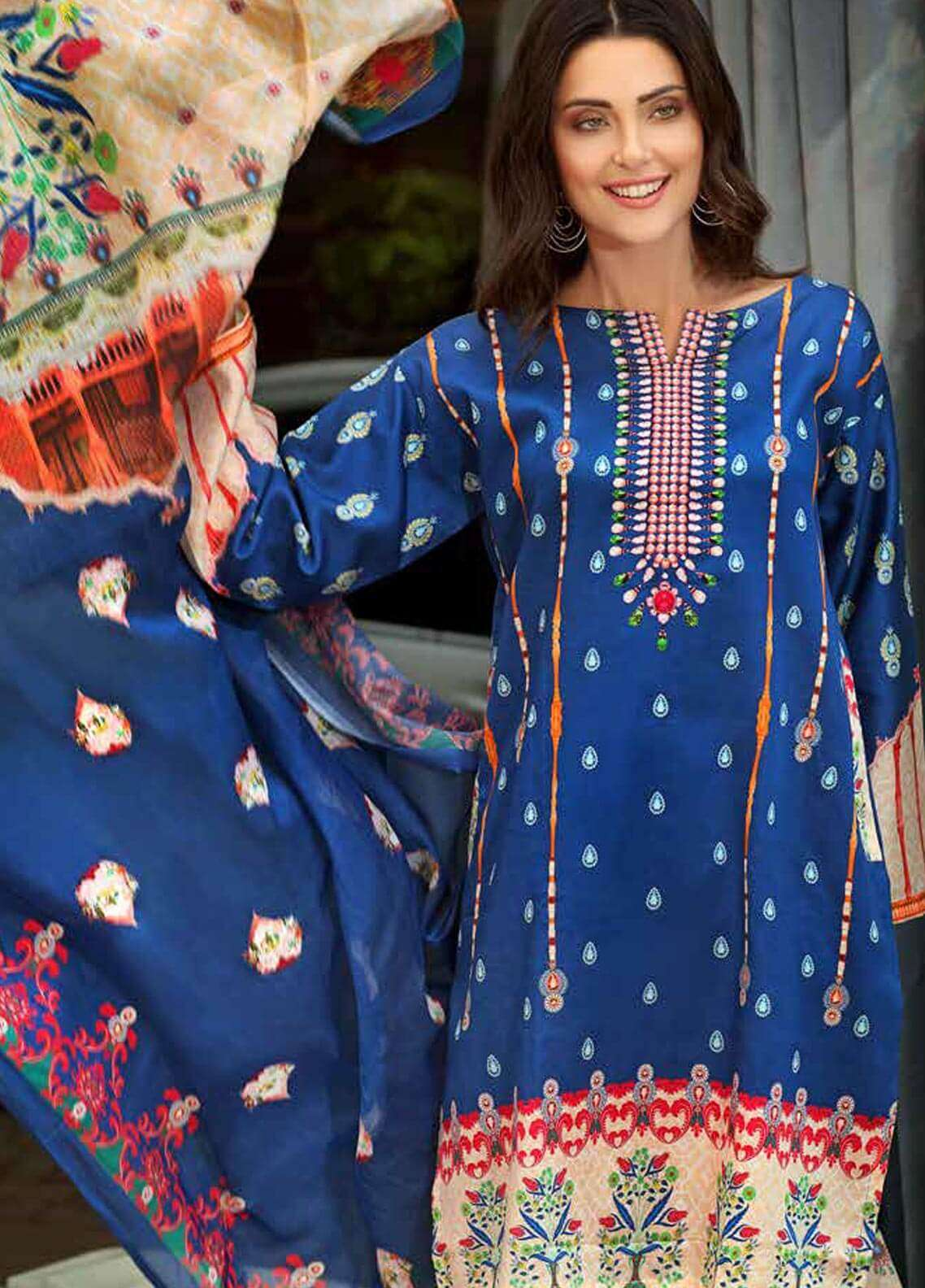 Gul Ahmed Printed Cotton Satin Unstitched 3 Piece Suit GAS18C DCS 1B - Digital Printed Collection