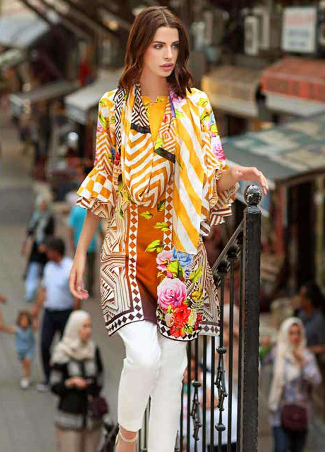 Gul Ahmed Printed Cotton Satin Unstitched 3 Piece Suit GAS18C DCS 2A - Digital Printed Collection