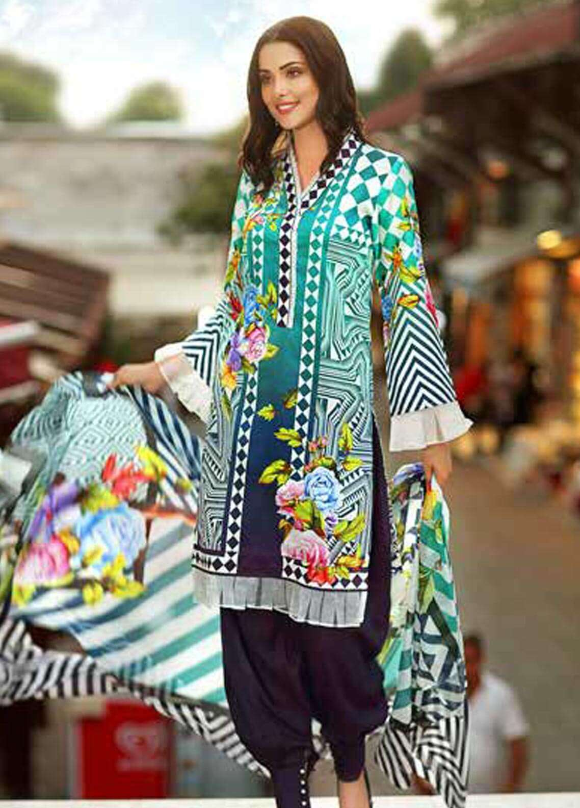 Gul Ahmed Printed Cotton Satin Unstitched 3 Piece Suit GAS18C DCS 2B - Digital Printed Collection
