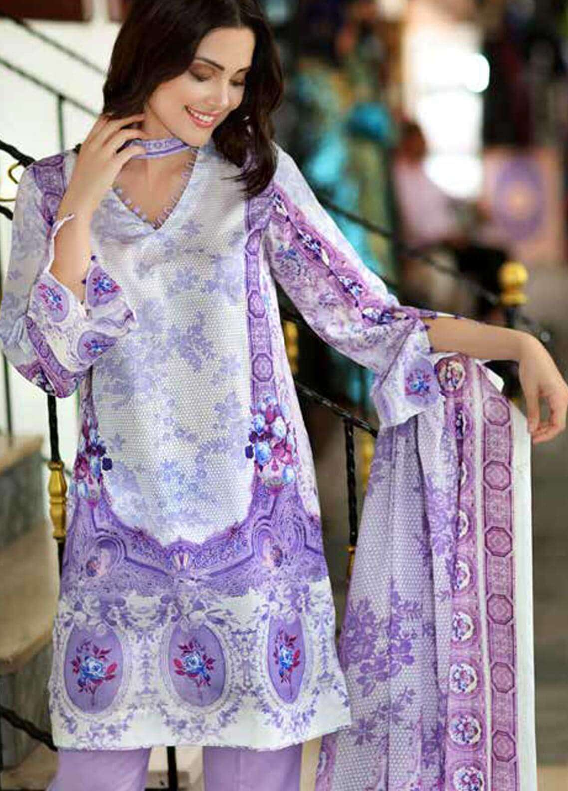 Gul Ahmed Printed Cotton Satin Unstitched 3 Piece Suit GAS18C DCS 3A - Digital Printed Collection