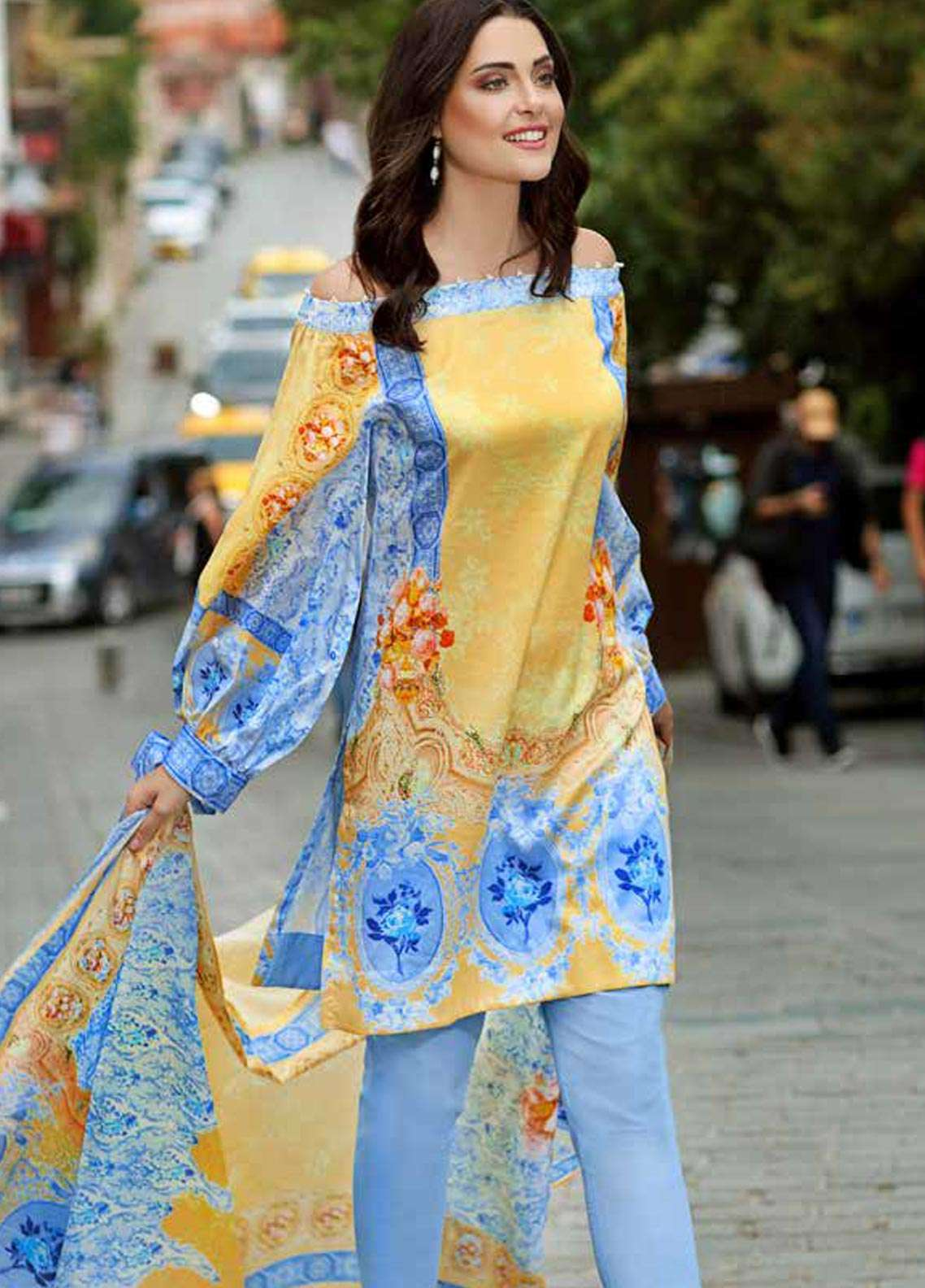Gul Ahmed Printed Cotton Satin Unstitched 3 Piece Suit GAS18C DCS 3B - Digital Printed Collection