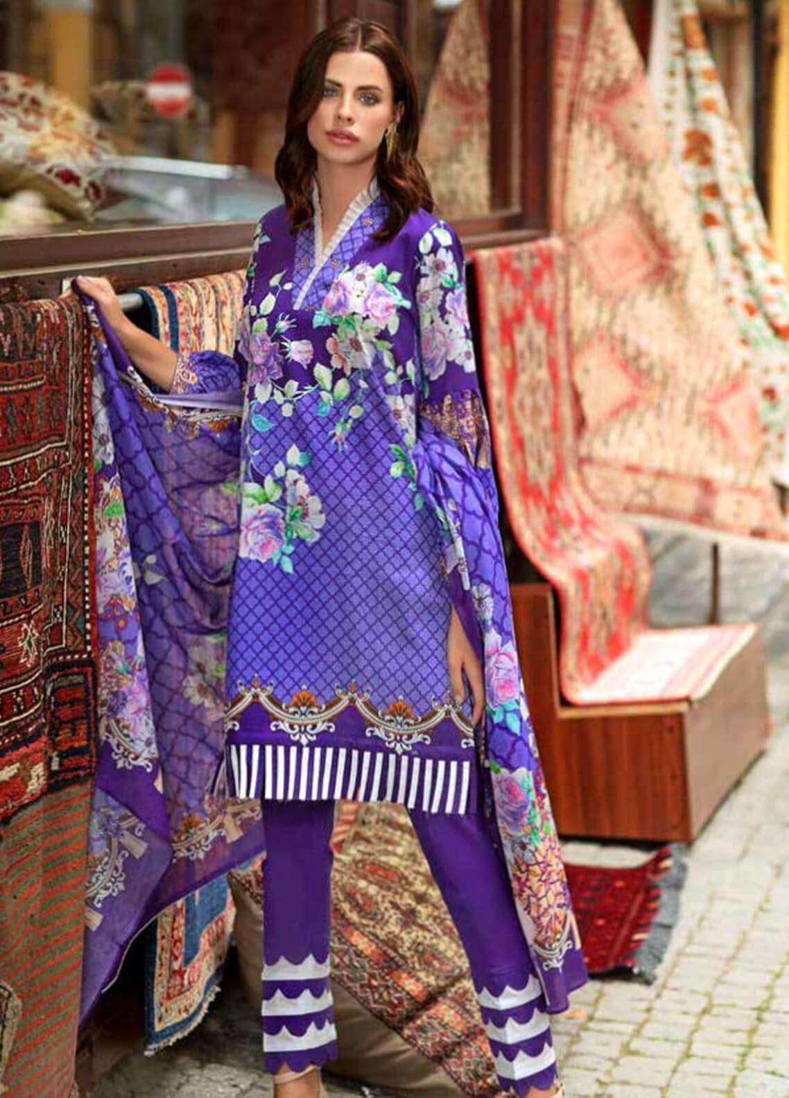 Gul Ahmed Printed Cotton Satin Unstitched 3 Piece Suit GAS18C DCS 4A - Digital Printed Collection