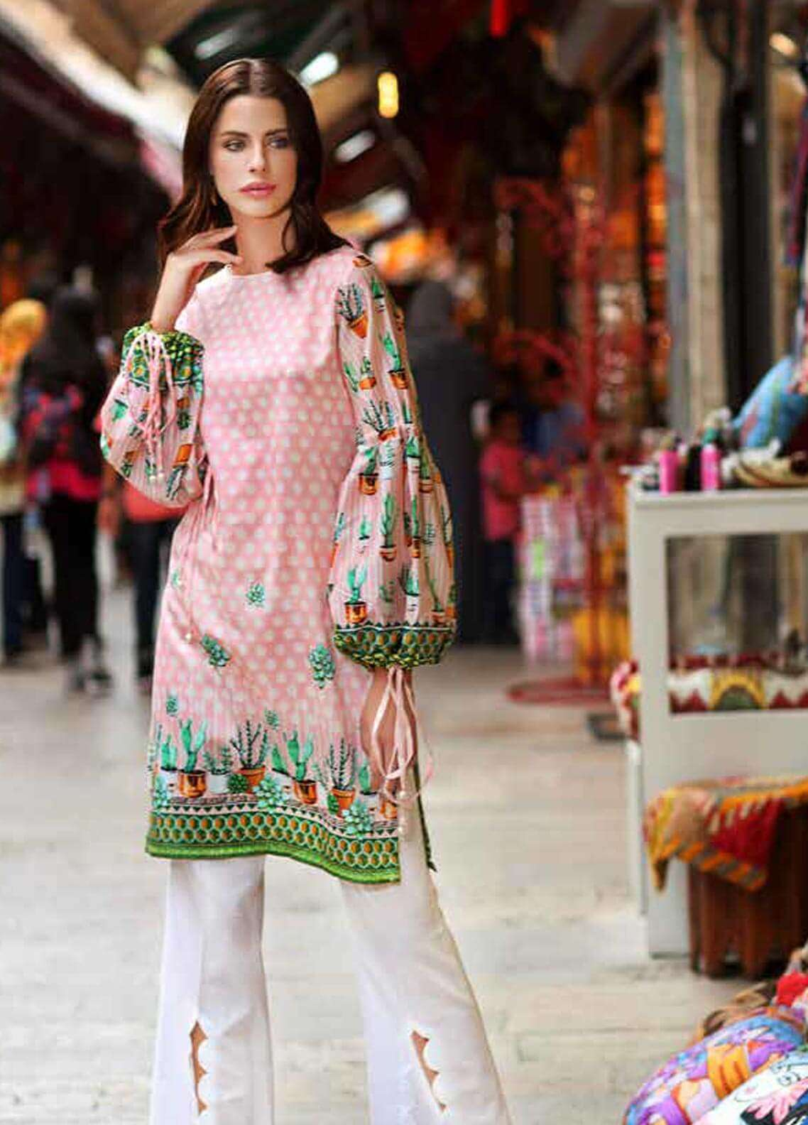 Gul Ahmed Printed Cotton Satin Unstitched Kurties GAS18C DCSS 01 - Digital Printed Collection