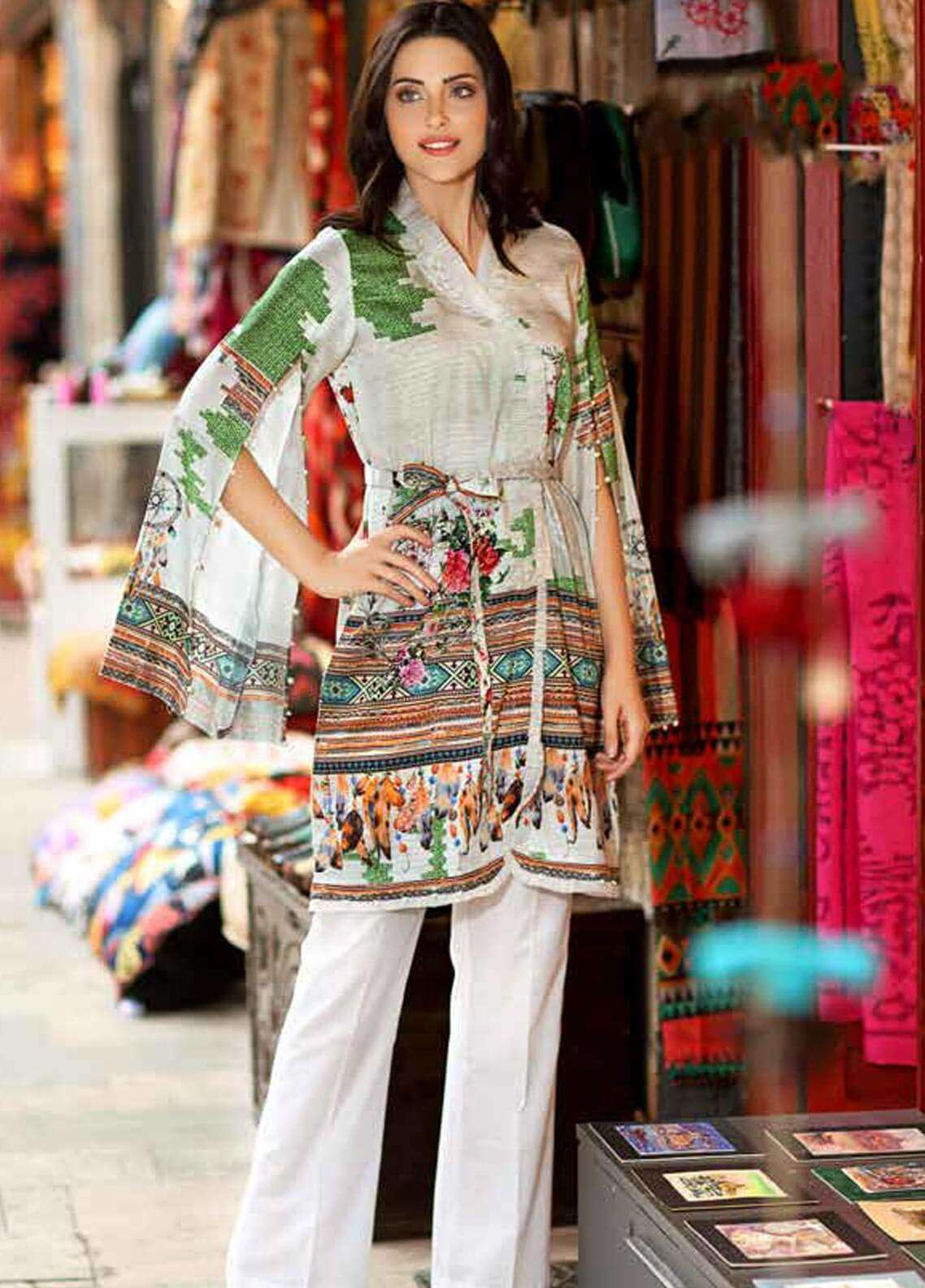 Gul Ahmed Printed Cotton Satin Unstitched Kurties GAS18C DCSS 02 - Digital Printed Collection