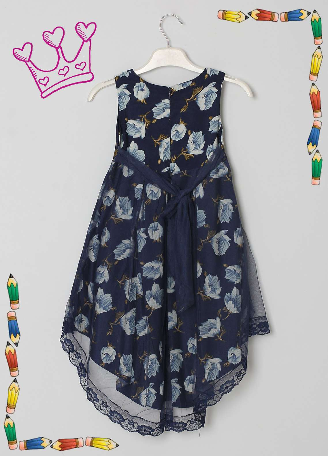 Sanaulla Exclusive Range Cotton Net Fancy Frocks for Girls -  5481 Blue