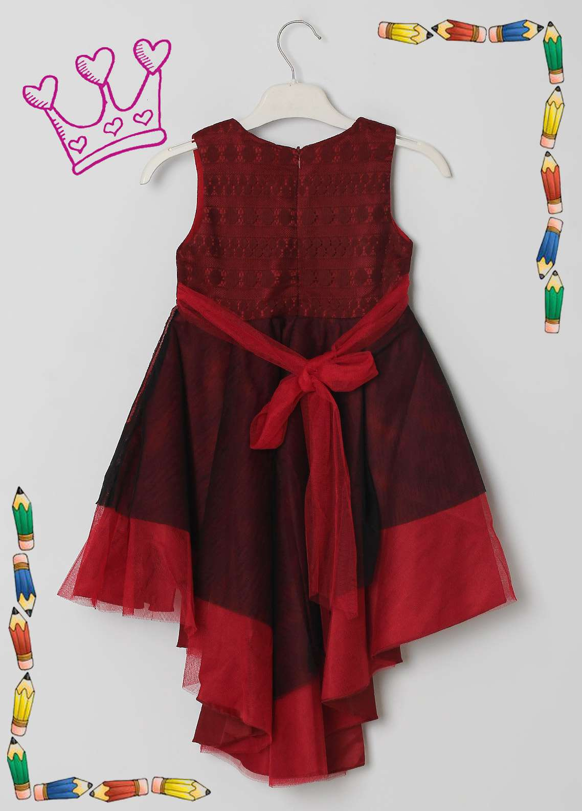 Sanaulla Exclusive Range Cotton Net Fancy Frocks for Girls -  5531 Maroon