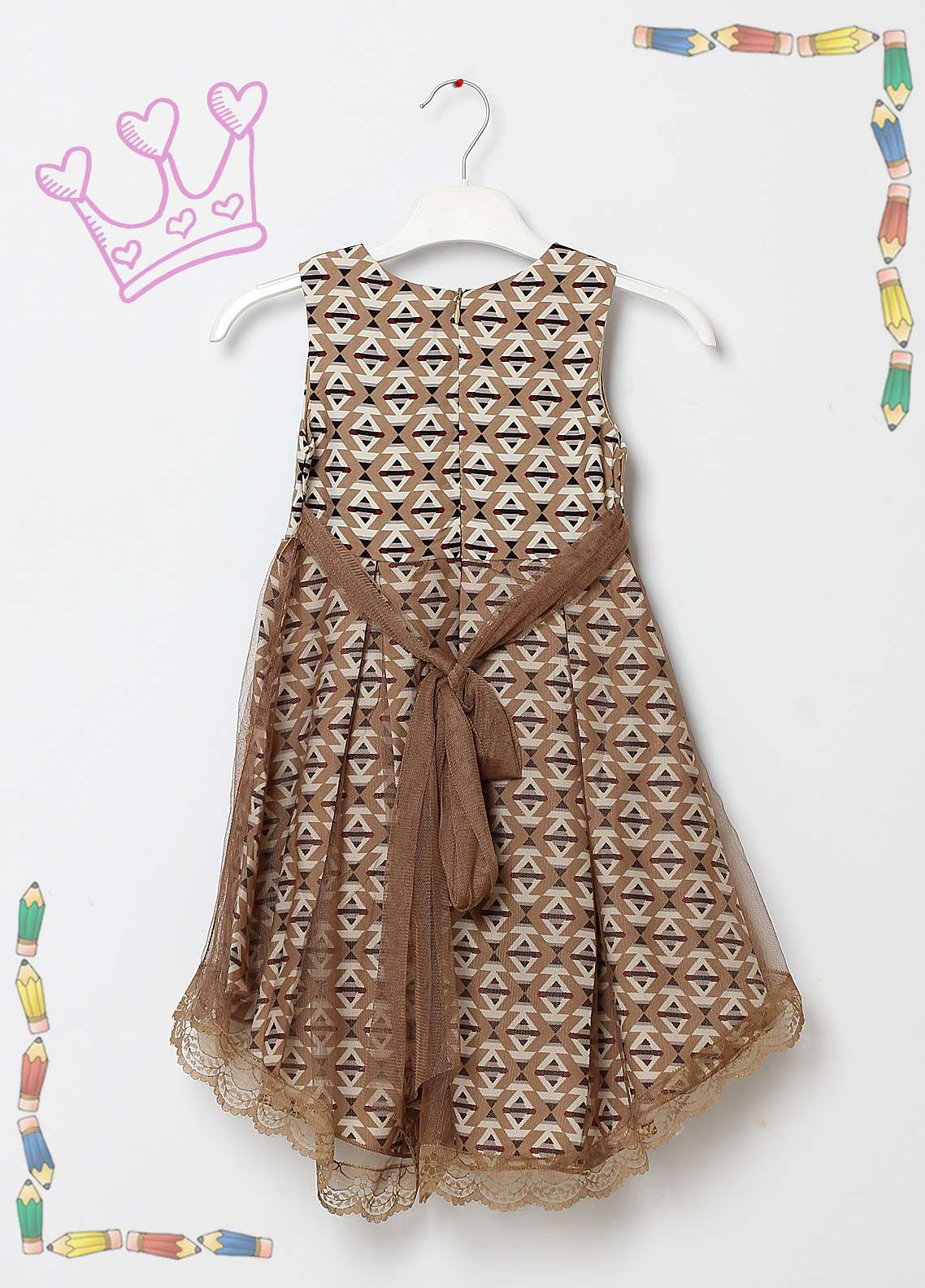 Sanaulla Exclusive Range Cotton Net Fancy Frocks for Girls -  5563 Brown
