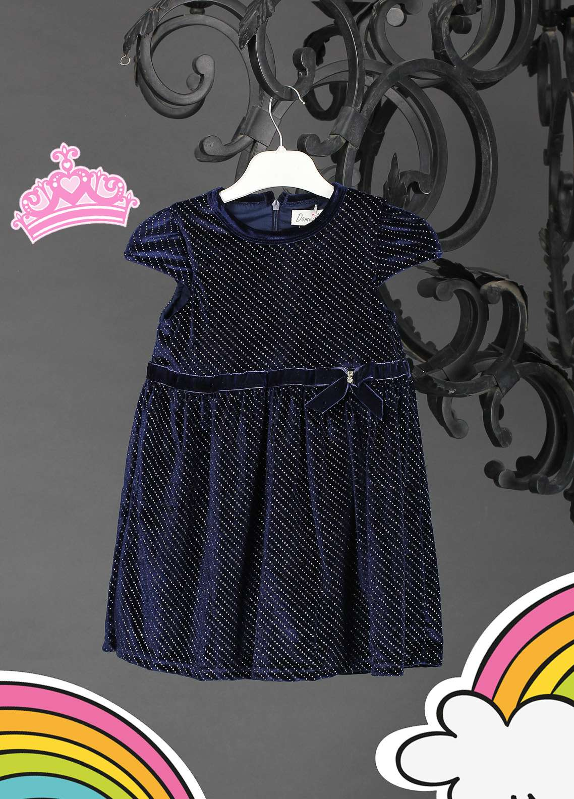 Sanaulla Exclusive Range Cotton Net Fancy Frocks for Girls -  808085 Navy Blue
