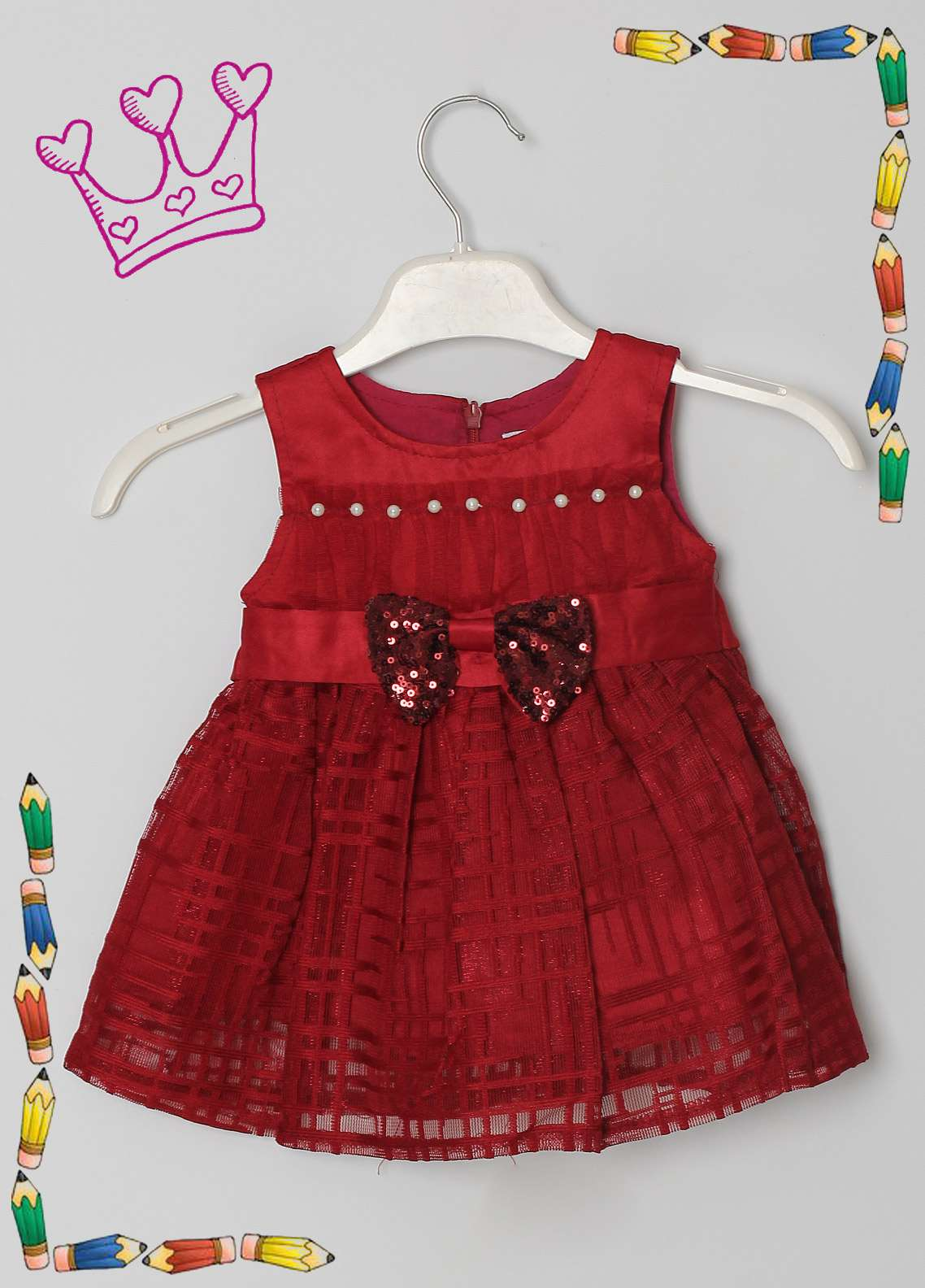 Sanaulla Exclusive Range Cotton Net Fancy Frocks for Girls -  8522 Maroon