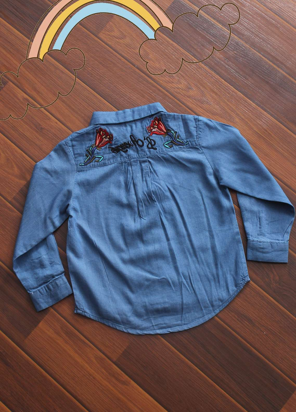 Sanaulla Exclusive Range Denim Fancy Girls Shirts -  D-428 Blue