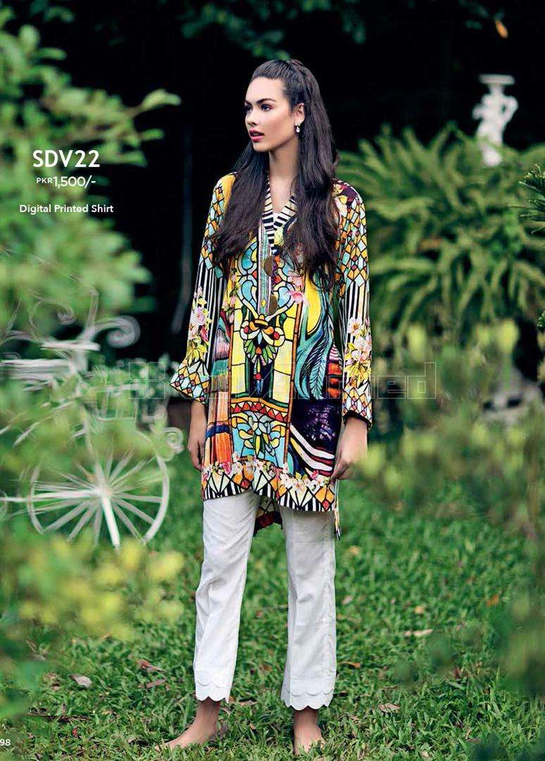 Gul Ahmed Embroidered Linen Unstitched Kurtis Suit GL17W SDV22