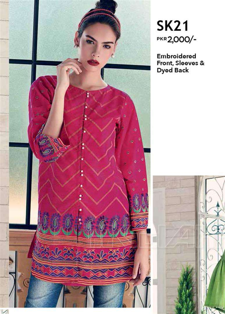 Gul Ahmed Embroidered Linen Unstitched Kurtis Suit GL17W SK21