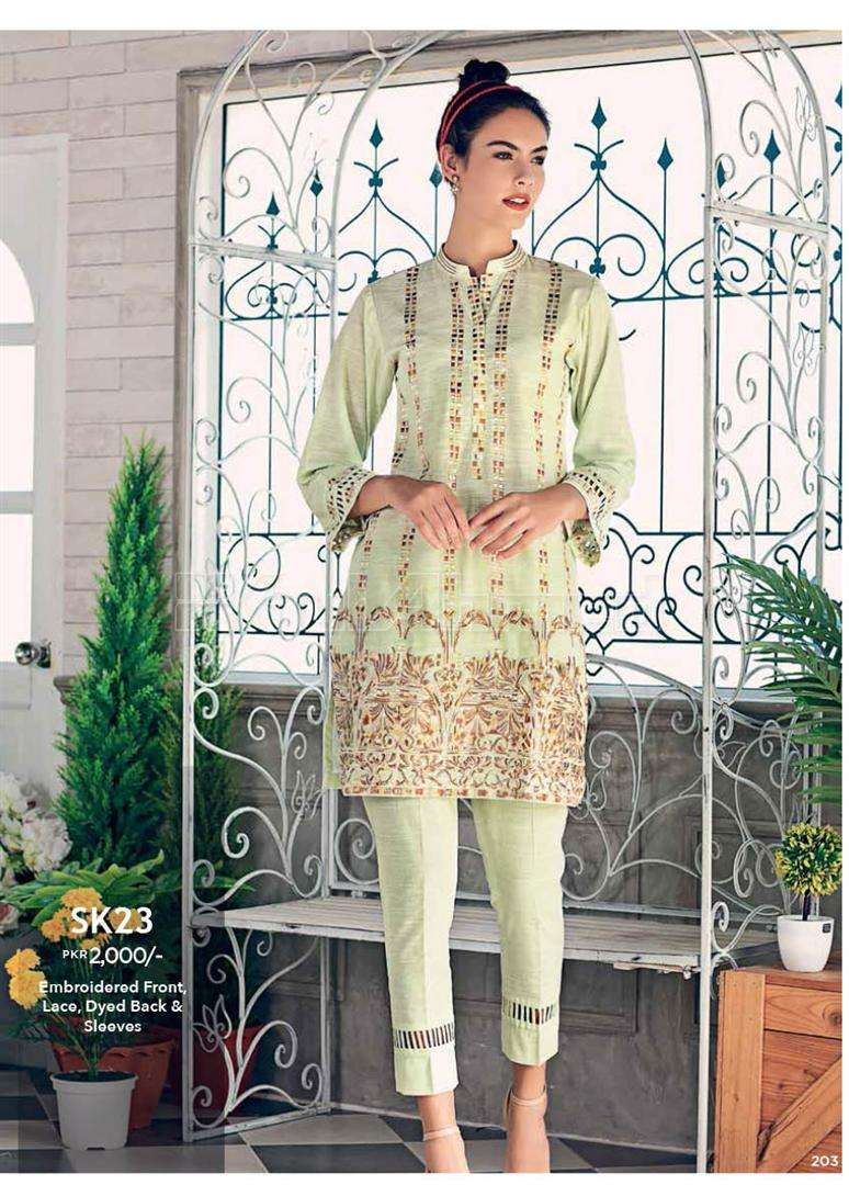 Gul Ahmed Embroidered Linen Unstitched Kurtis Suit GL17W SK23