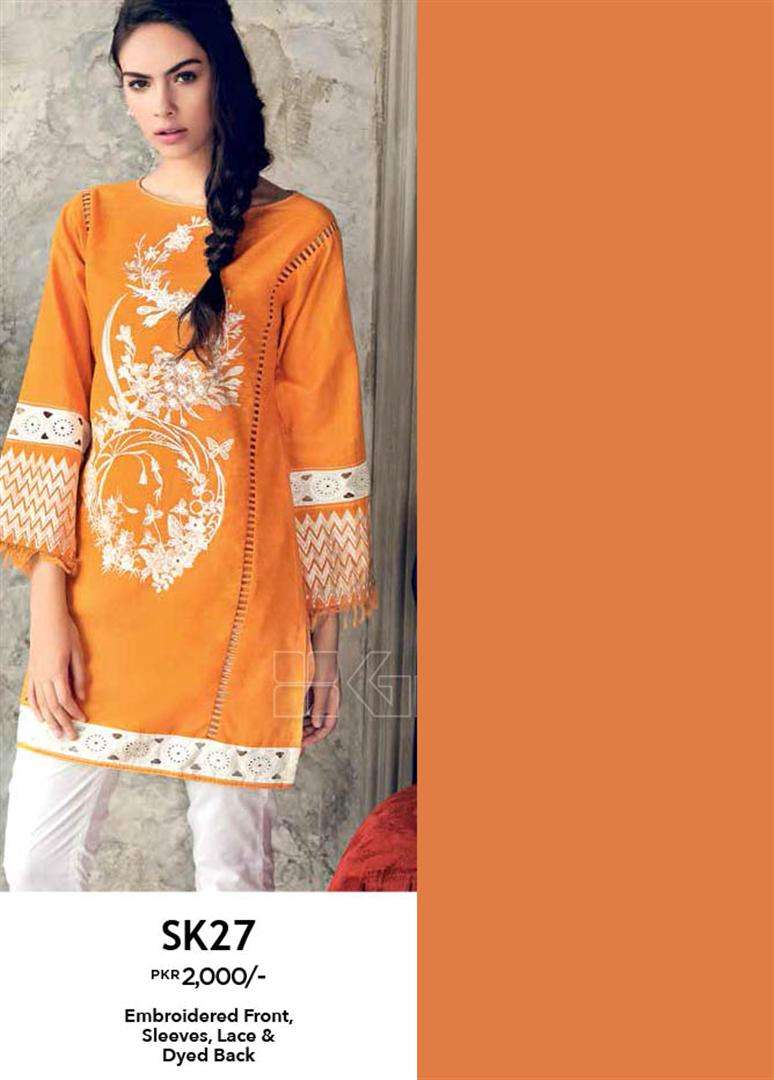 Gul Ahmed Embroidered Linen Unstitched Kurtis Suit GL17W SK27