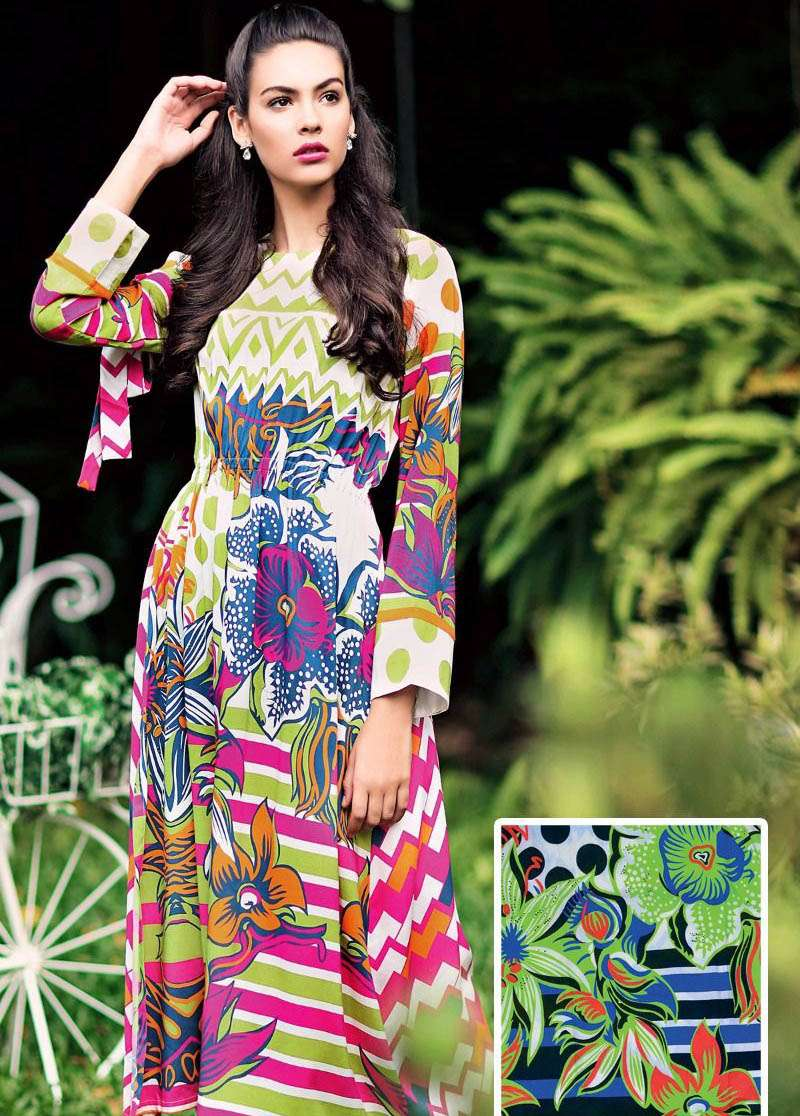 Gul Ahmed Embroidered Linen Unstitched Kurtis Suit GL17W SM10B