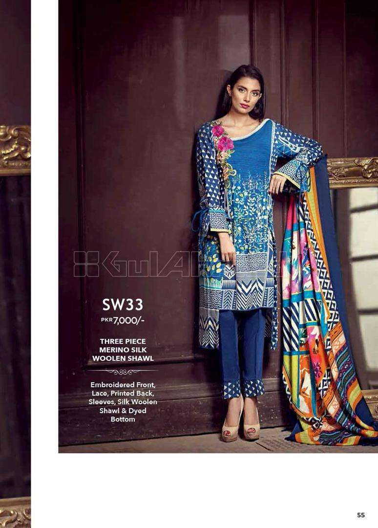 Gul Ahmed Embroidered Marina Unstitched 3 Piece Suit GL17W SW33