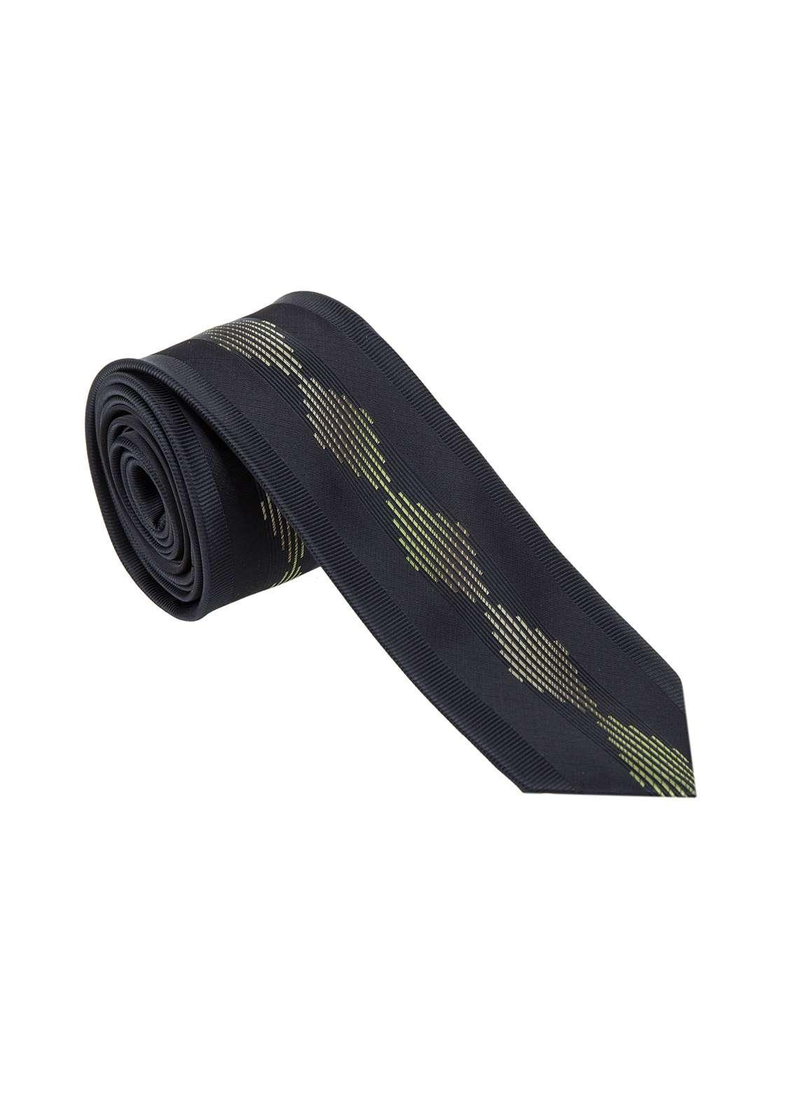 The Gentlemen's Club Golden Printed Silk Tie for Men