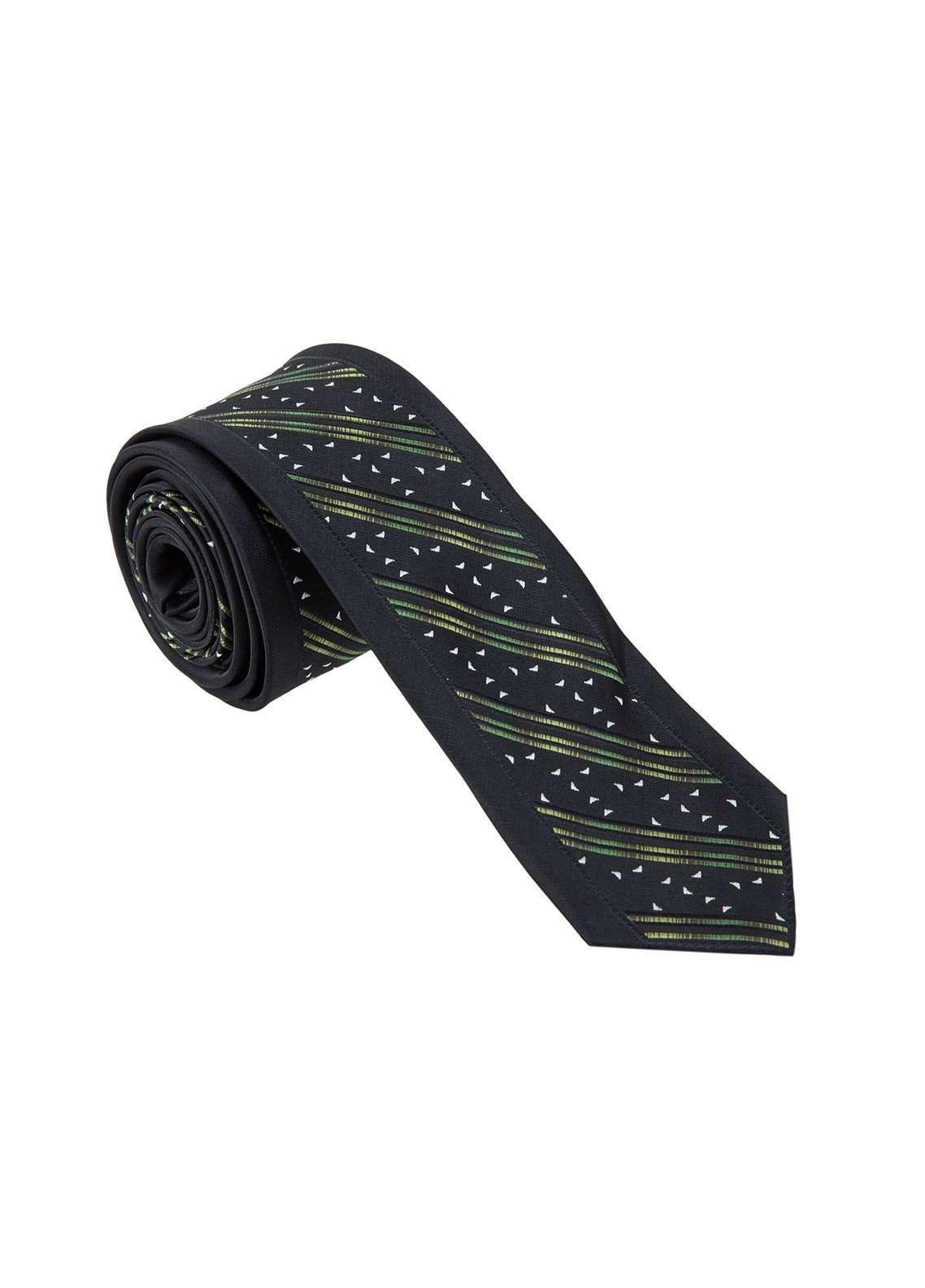 The Gentlemen's Club Green Printed Silk Tie for Men