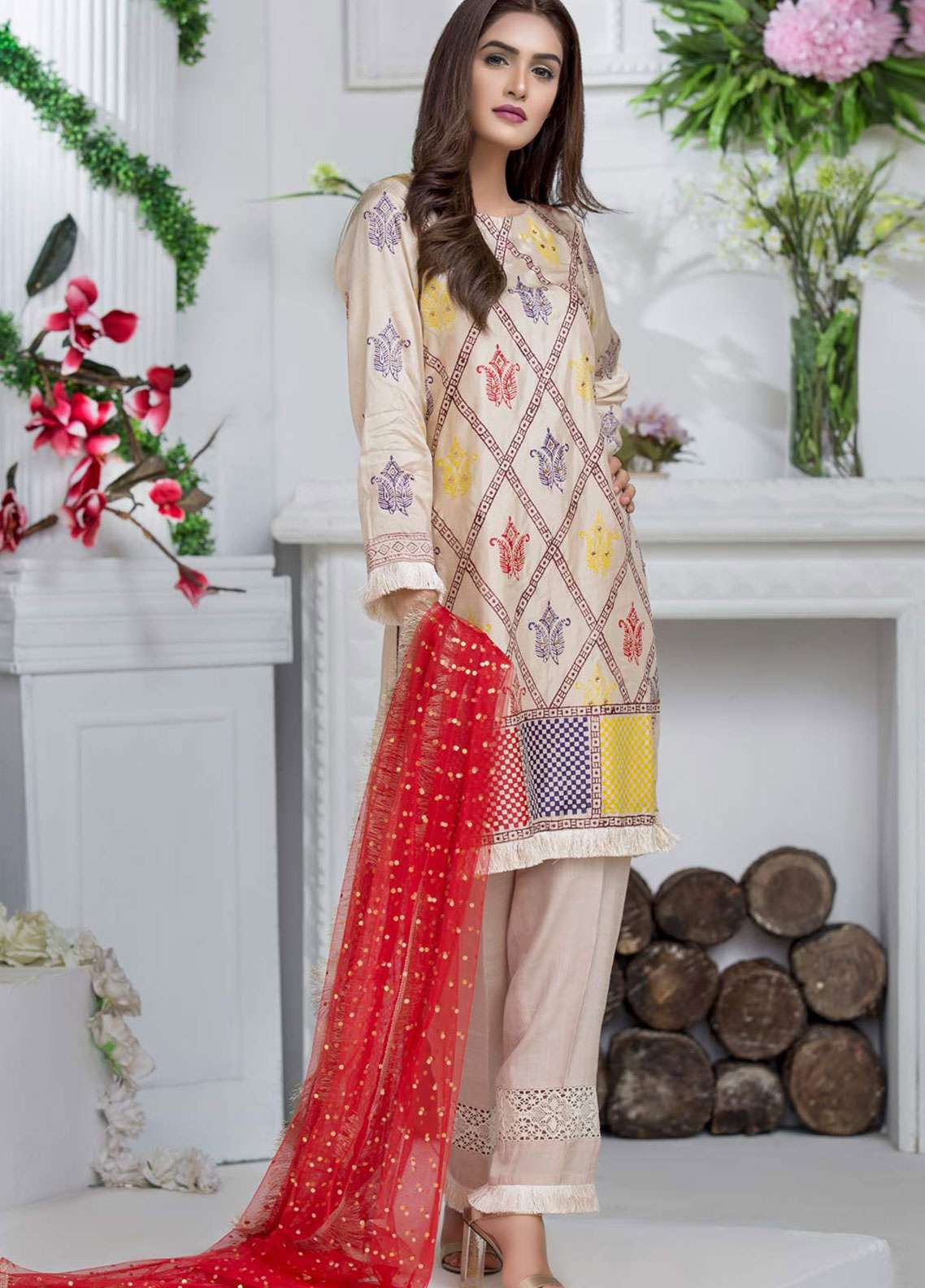 Chic Ophicial Embroidered  Stitched 3 Piece Suit GOLDEN BLOCKPRINT