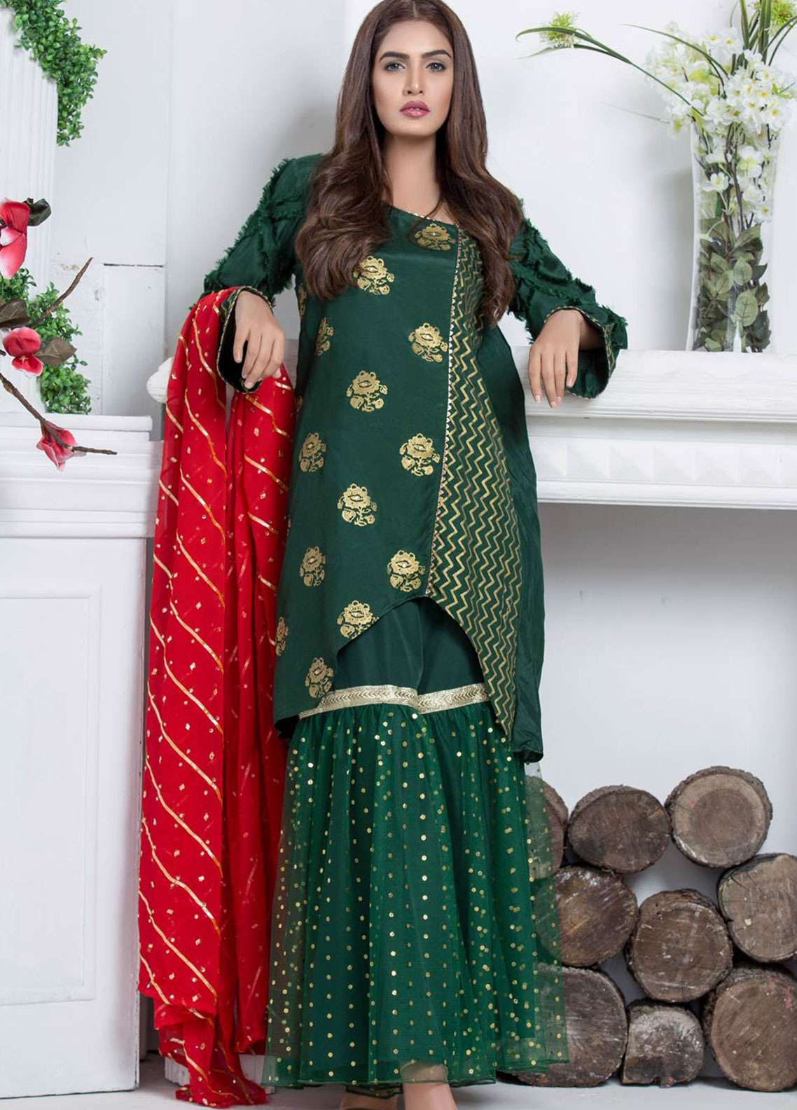 Chic Ophicial Embroidered  Stitched 3 Piece Suit GREEN FORTUNE