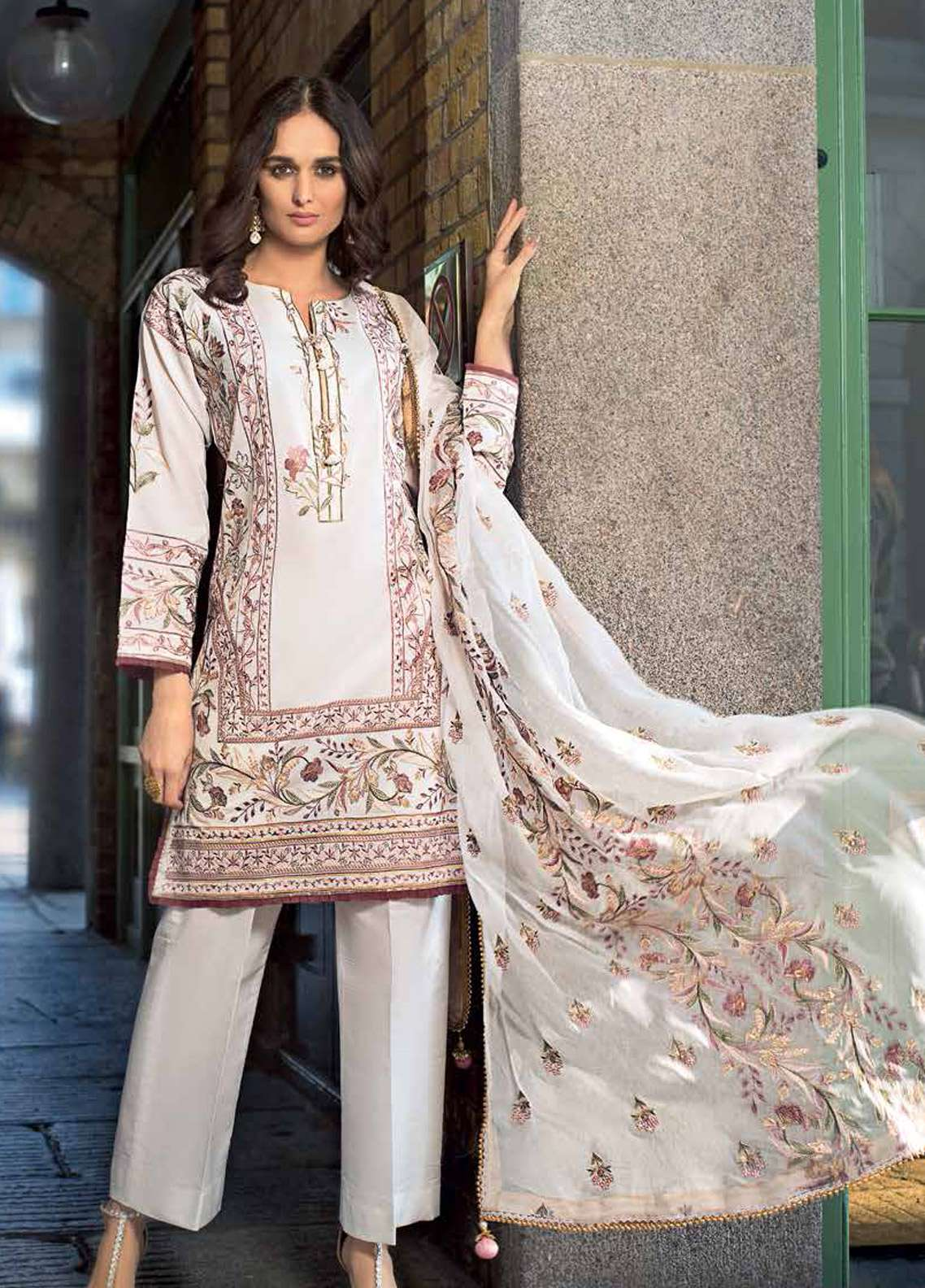Gul Ahmed Embroidered Cotton Silk Unstitched 3 Piece Suit GA19E FE-179 - Eid Collection