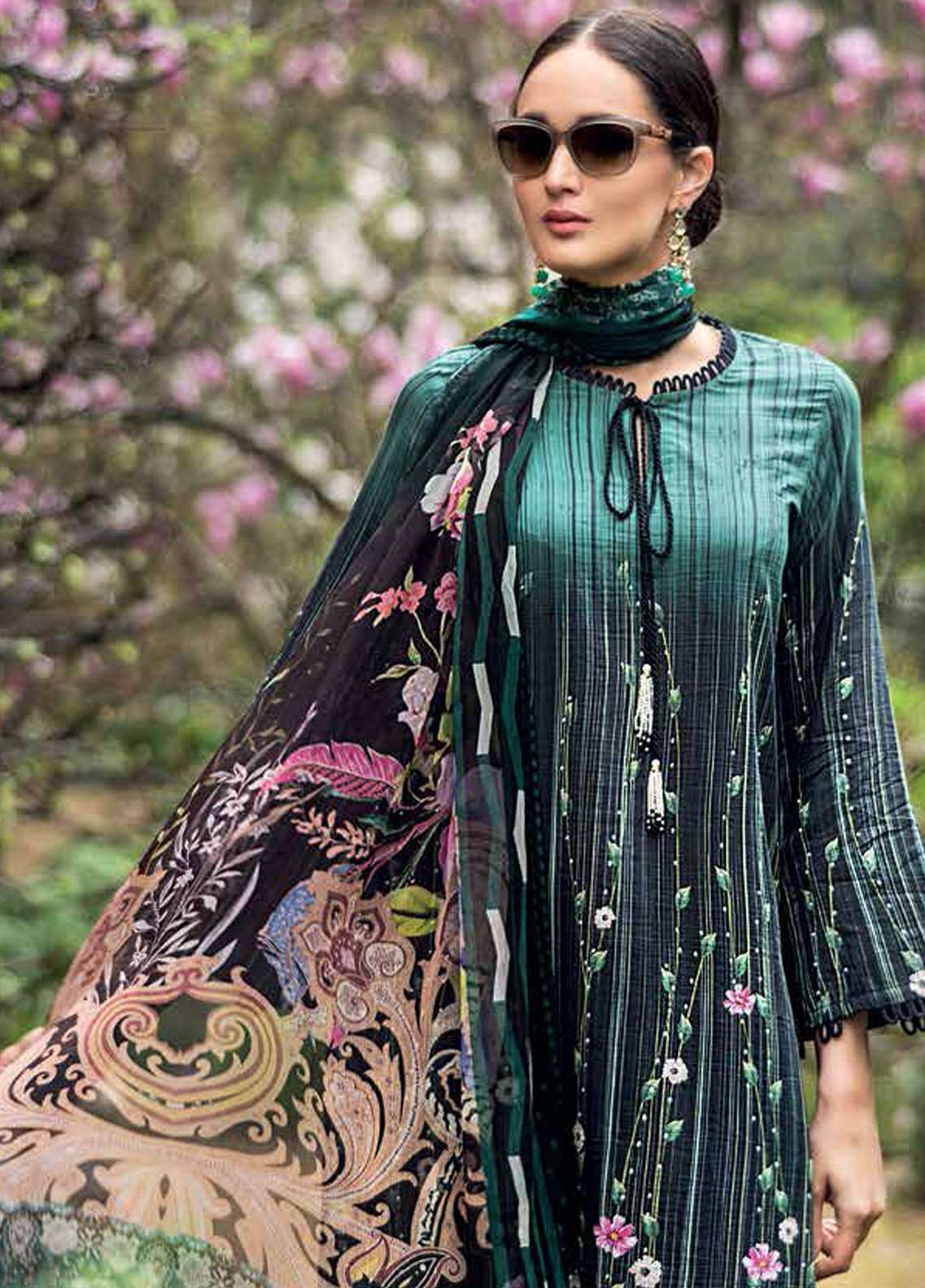 Gul Ahmed Embroidered Cotton Silk Unstitched 3 Piece Suit GA19E FE-217 - Eid Collection