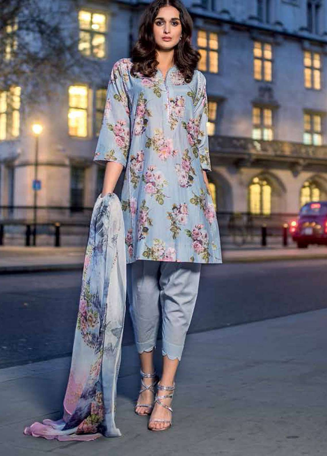 Gul Ahmed Embroidered Cotton Silk Unstitched 3 Piece Suit GA19E FE-218 - Eid Collection
