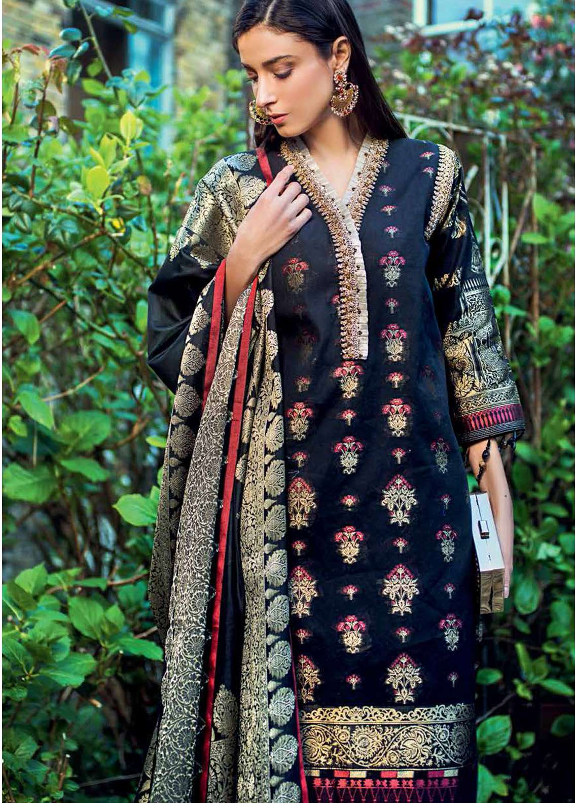 Gul Ahmed Embroidered Jacquard Unstitched 3 Piece Suit GA19E FE-220 - Eid Collection