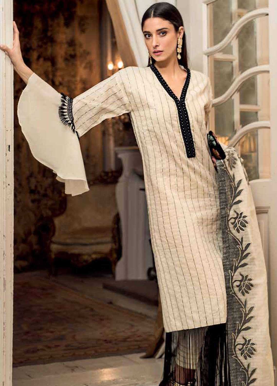 Gul Ahmed Embroidered Jacquard Unstitched 3 Piece Suit GA19E FE-222 - Eid Collection