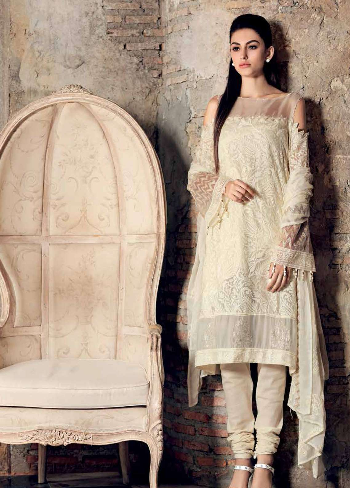 Gul Ahmed Embroidered Jacquard Unstitched 3 Piece Suit GA19E FE-227 - Eid Collection